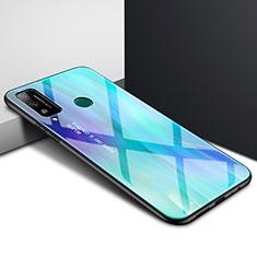 Coque Rebord Contour Silicone et Vitre Miroir Housse Etui pour Huawei Honor Play4T Cyan