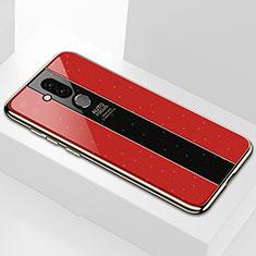Coque Rebord Contour Silicone et Vitre Miroir Housse Etui pour Huawei Mate 20 Lite Rouge