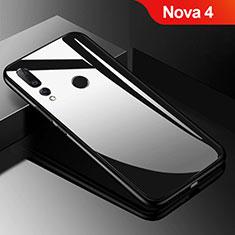 Coque Rebord Contour Silicone et Vitre Miroir Housse Etui pour Huawei Nova 4 Noir