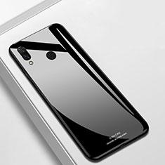 Coque Rebord Contour Silicone et Vitre Miroir Housse Etui pour Huawei P Smart+ Plus Noir