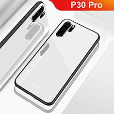 Coque Rebord Contour Silicone et Vitre Miroir Housse Etui pour Huawei P30 Pro Blanc
