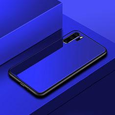 Coque Rebord Contour Silicone et Vitre Miroir Housse Etui pour Huawei P30 Pro Bleu
