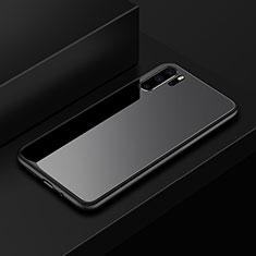 Coque Rebord Contour Silicone et Vitre Miroir Housse Etui pour Huawei P30 Pro Noir