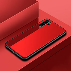 Coque Rebord Contour Silicone et Vitre Miroir Housse Etui pour Huawei P30 Pro Rouge