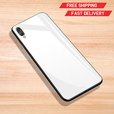 Coque Rebord Contour Silicone et Vitre Miroir Housse Etui pour Huawei Y7 (2019) Blanc