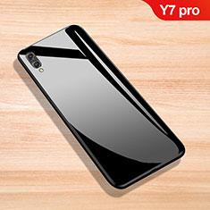 Coque Rebord Contour Silicone et Vitre Miroir Housse Etui pour Huawei Y7 (2019) Noir