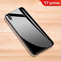 Coque Rebord Contour Silicone et Vitre Miroir Housse Etui pour Huawei Y7 Prime (2019) Noir