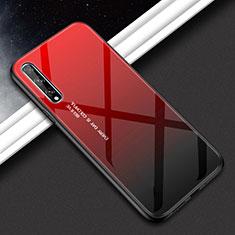 Coque Rebord Contour Silicone et Vitre Miroir Housse Etui pour Huawei Y8p Rouge