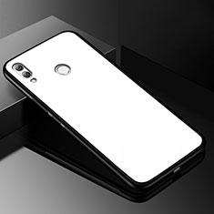 Coque Rebord Contour Silicone et Vitre Miroir Housse Etui pour Huawei Y9 (2019) Blanc
