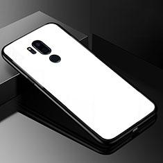 Coque Rebord Contour Silicone et Vitre Miroir Housse Etui pour LG G7 Blanc
