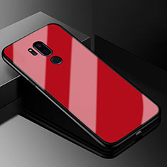Coque Rebord Contour Silicone et Vitre Miroir Housse Etui pour LG G7 Rouge
