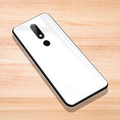 Coque Rebord Contour Silicone et Vitre Miroir Housse Etui pour Nokia 6.1 Plus Blanc