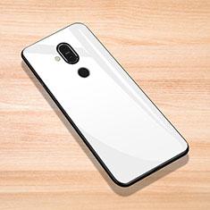 Coque Rebord Contour Silicone et Vitre Miroir Housse Etui pour Nokia 7.1 Plus Blanc