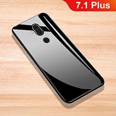 Coque Rebord Contour Silicone et Vitre Miroir Housse Etui pour Nokia 7.1 Plus Noir
