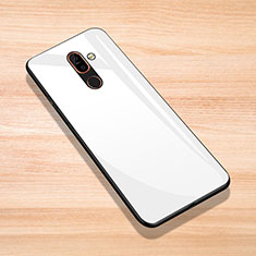 Coque Rebord Contour Silicone et Vitre Miroir Housse Etui pour Nokia 7 Plus Blanc