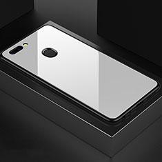 Coque Rebord Contour Silicone et Vitre Miroir Housse Etui pour OnePlus 5T A5010 Blanc