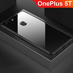 Coque Rebord Contour Silicone et Vitre Miroir Housse Etui pour OnePlus 5T A5010 Noir