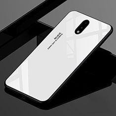 Coque Rebord Contour Silicone et Vitre Miroir Housse Etui pour OnePlus 7 Blanc