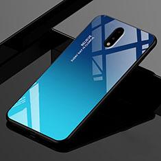 Coque Rebord Contour Silicone et Vitre Miroir Housse Etui pour OnePlus 7 Bleu
