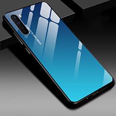 Coque Rebord Contour Silicone et Vitre Miroir Housse Etui pour OnePlus Nord Bleu