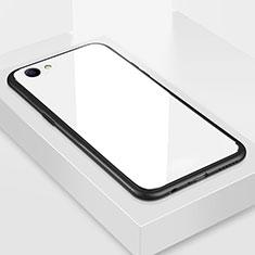 Coque Rebord Contour Silicone et Vitre Miroir Housse Etui pour Oppo A3 Blanc
