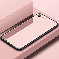 Coque Rebord Contour Silicone et Vitre Miroir Housse Etui pour Oppo A3 Or Rose