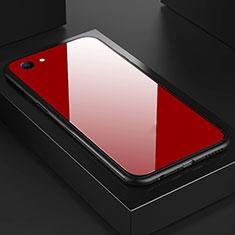 Coque Rebord Contour Silicone et Vitre Miroir Housse Etui pour Oppo A3 Rouge