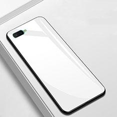 Coque Rebord Contour Silicone et Vitre Miroir Housse Etui pour Oppo A7 Blanc