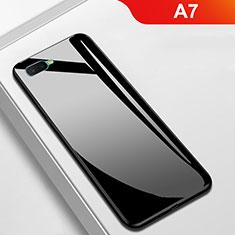 Coque Rebord Contour Silicone et Vitre Miroir Housse Etui pour Oppo A7 Noir