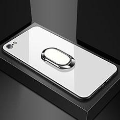 Coque Rebord Contour Silicone et Vitre Miroir Housse Etui pour Oppo A71 Blanc