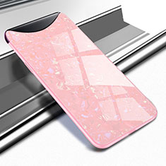 Coque Rebord Contour Silicone et Vitre Miroir Housse Etui pour Oppo Find X Or Rose
