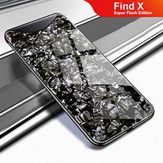 Coque Rebord Contour Silicone et Vitre Miroir Housse Etui pour Oppo Find X Super Flash Edition Noir