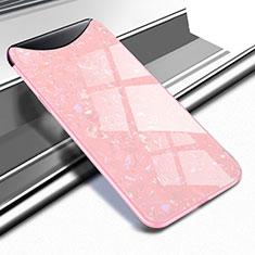 Coque Rebord Contour Silicone et Vitre Miroir Housse Etui pour Oppo Find X Super Flash Edition Or Rose