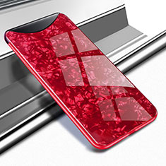 Coque Rebord Contour Silicone et Vitre Miroir Housse Etui pour Oppo Find X Super Flash Edition Rouge