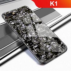 Coque Rebord Contour Silicone et Vitre Miroir Housse Etui pour Oppo K1 Noir
