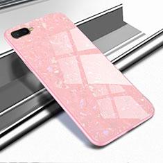 Coque Rebord Contour Silicone et Vitre Miroir Housse Etui pour Oppo R15X Or Rose