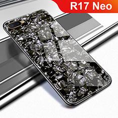 Coque Rebord Contour Silicone et Vitre Miroir Housse Etui pour Oppo R17 Neo Noir