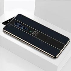 Coque Rebord Contour Silicone et Vitre Miroir Housse Etui pour Oppo Reno 10X Zoom Noir