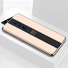 Coque Rebord Contour Silicone et Vitre Miroir Housse Etui pour Oppo Reno 10X Zoom Or
