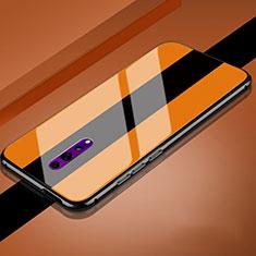 Coque Rebord Contour Silicone et Vitre Miroir Housse Etui pour Oppo Reno Z Orange