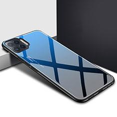 Coque Rebord Contour Silicone et Vitre Miroir Housse Etui pour Oppo Reno4 F Bleu