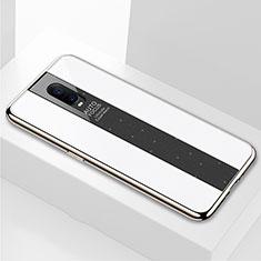 Coque Rebord Contour Silicone et Vitre Miroir Housse Etui pour Oppo RX17 Pro Blanc