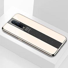 Coque Rebord Contour Silicone et Vitre Miroir Housse Etui pour Oppo RX17 Pro Or