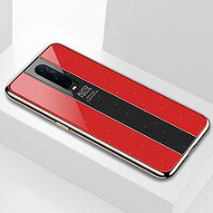 Coque Rebord Contour Silicone et Vitre Miroir Housse Etui pour Oppo RX17 Pro Rouge