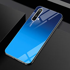 Coque Rebord Contour Silicone et Vitre Miroir Housse Etui pour Realme X50m 5G Bleu