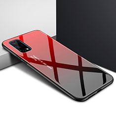 Coque Rebord Contour Silicone et Vitre Miroir Housse Etui pour Realme X7 5G Rouge