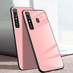 Coque Rebord Contour Silicone et Vitre Miroir Housse Etui pour Samsung Galaxy A20e Rose