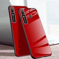 Coque Rebord Contour Silicone et Vitre Miroir Housse Etui pour Samsung Galaxy A20e Rouge