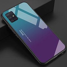 Coque Rebord Contour Silicone et Vitre Miroir Housse Etui pour Samsung Galaxy A51 4G Bleu