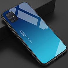 Coque Rebord Contour Silicone et Vitre Miroir Housse Etui pour Samsung Galaxy A51 4G Bleu Ciel